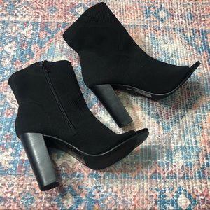 Torrid Black Open Toe High Heel Knit Booties